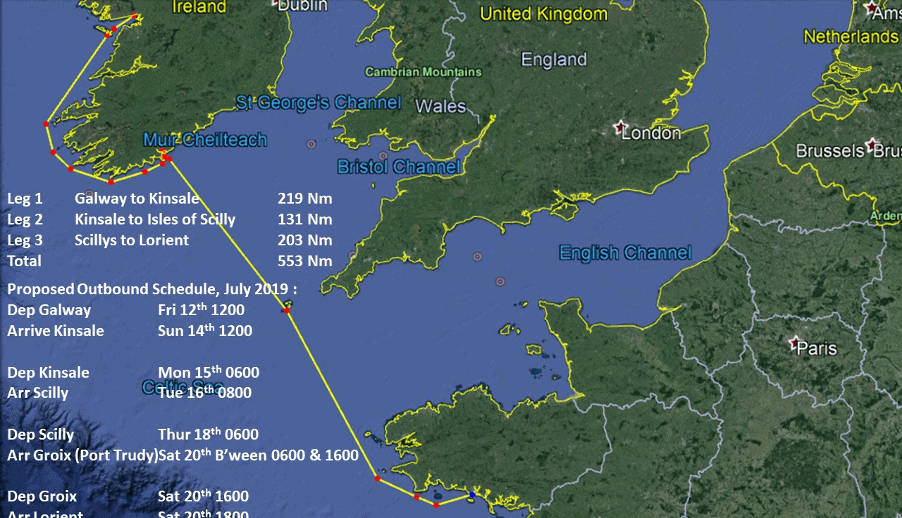 Galway to L'Orient chart