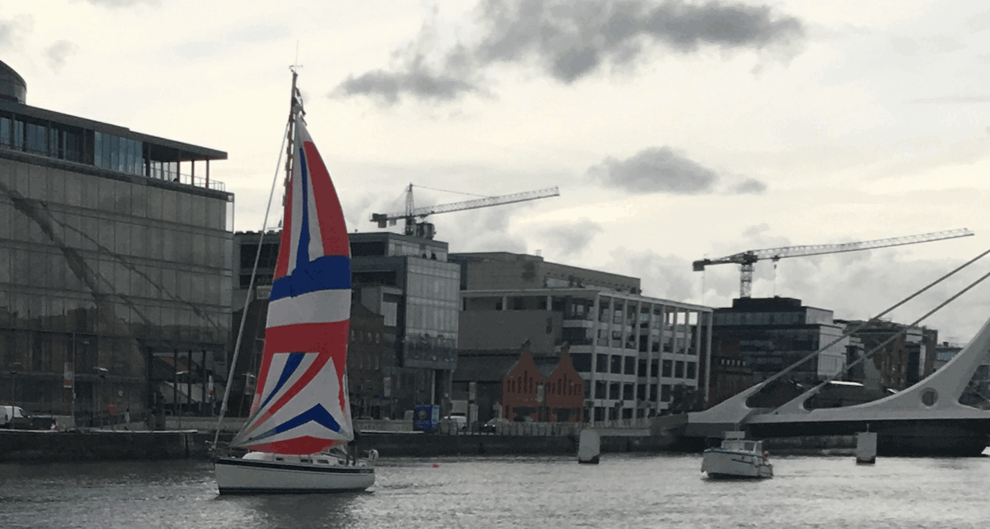 Yacht with spinnaker on Liffey