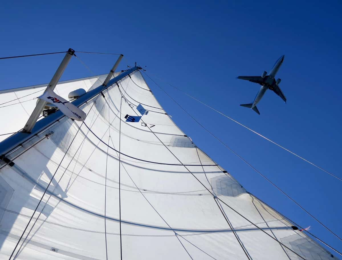 image of aircraft from sailboat