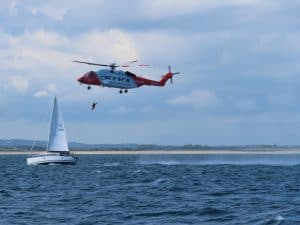 Yacht Taurus in exercise with helicopter rescue